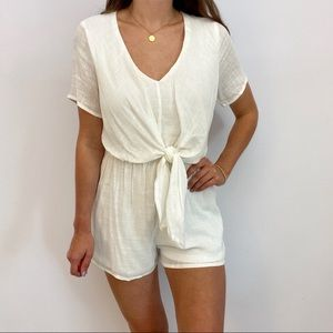 White Romper with Front Tie